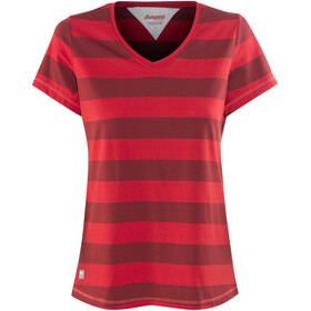 Bergans W's Bastøy Tee Red/Burgundy Striped/Strawberry